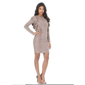 NWT AX Paris Mocha Suede Long Sleeve Ruffle Dress